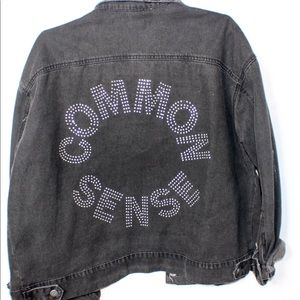 Black Oversized 'Common Sense ' Denim Jacket Sz L